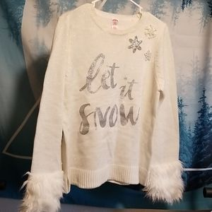 Let it Snow! bling sweater with fur